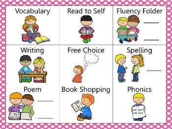 Reading and Writing (daily 5) Choice Board Pink Dots