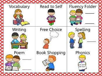 Reading and Writing (daily 5) Choice Board Red Dots