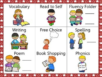 Reading and Writing (daily 5) Choice Board Red Stars