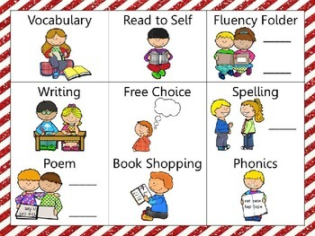 Reading and Writing (daily 5) Choice Board Red Stripes