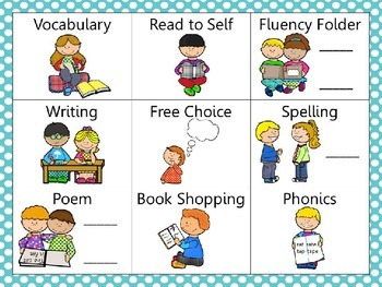 Reading and Writing (daily 5) Choice Board Teal Dots