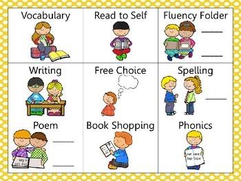 Reading and Writing (daily 5) Choice Board Yellow Dots