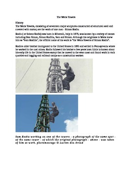Reading and questions for sub work: The Watts Towers