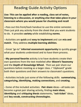Reading and recall activity