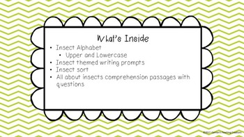 Reading and writing insects unit