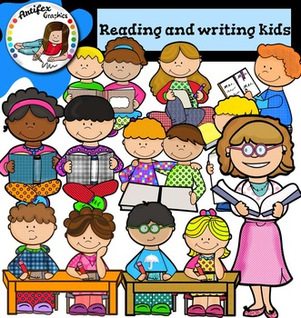 Reading and writing kids clip art- Color and black/white