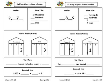 Reading and writing numbers puzzles