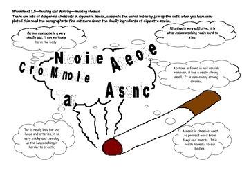 Reading and writing worksheet, dangers of smoking theme
