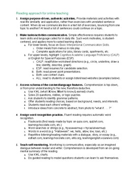Reading approach for online teaching