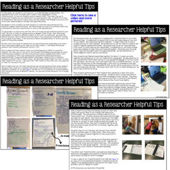 Reading as a Researcher Resources, Anchor Charts, Rubrics, and Research Journal