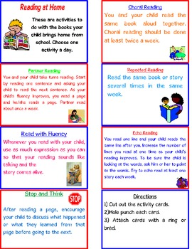 Parent Resource- Reading at Home Activities for Parents | TpT