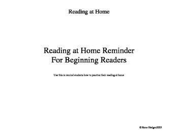 Reading at Home Reminder