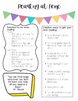 Reading at Home: Strategies Handout for Parents