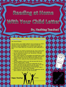 Reading At Home With Your Child (Letter to Parents/Guardians)