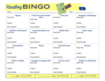 Reading BINGO (Reading log for intermediate students); With Dewey Decimal System