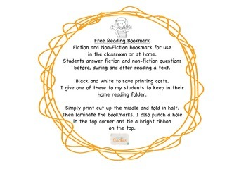 Reading bookmark fiction and non-fiction for class or home Free