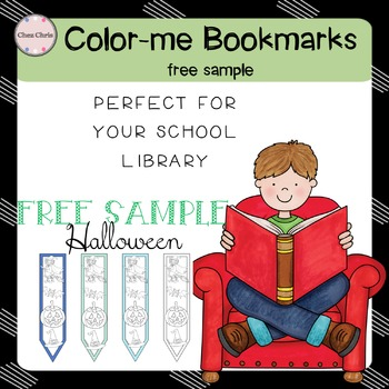 Reading books: 12 Color-me bookmarks (Halloween) - FREE SAMPLE
