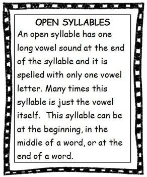 Reading Open [Vowel] Syllables - Unit 4