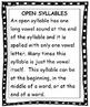 Reading Open [Vowel] Syllables - Unit 5