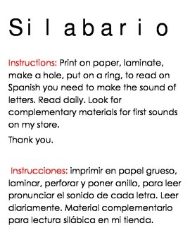 Reading cards for spanish.