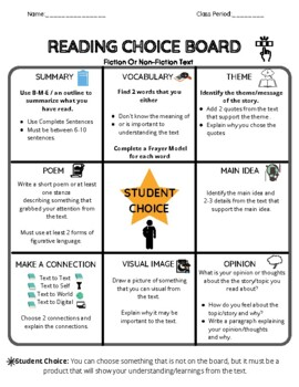 Reading choice board -Middle School