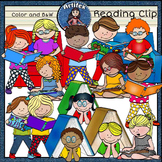 Reading clip art -Color and B&W-