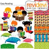 Reading clip art - kids, read, book - clipart