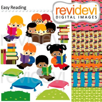 Reading clip art - kids, read, book - clipart