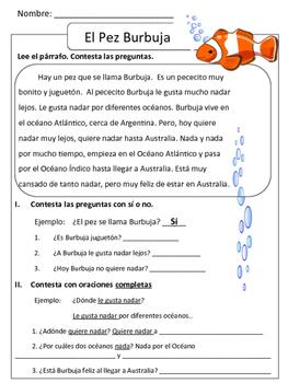 Reading comprehension - Los Océanos