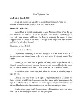 Reading comprehension Mon Voyage Au Zoo