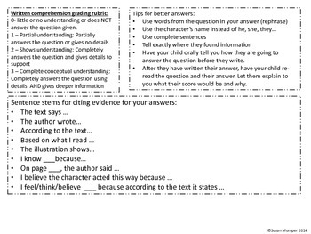 Reading comprehension homework (directions in English and Spanish)