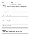 Reading comprehension packet Amber Brown in Not a Crayon