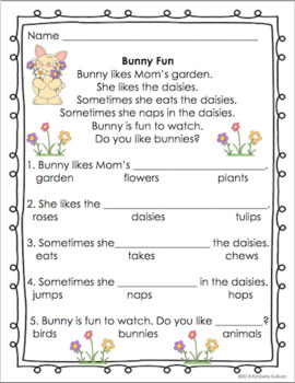 Reading comprehension passages and questions Pre-K - Grade 1