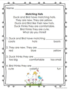 Spring Reading comprehension passages and questions Pre-K - Grade 1