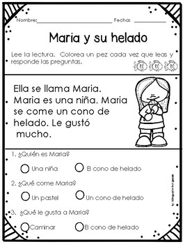 Reading comprehension passages in Spanish - Lecturas