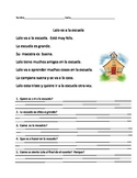 Reading comprehension story in spanish