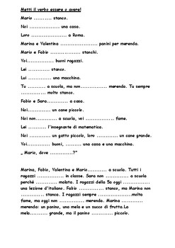 Reading comprehension, verbs to be and to have for young learners of Italian