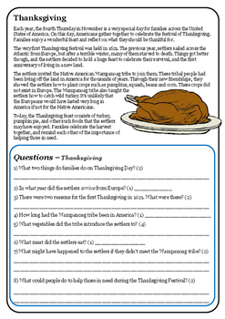 Reading comprehension - Thanksgiving