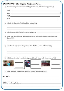 Reading Comprehension Package - The Royal Family