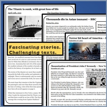 Close reading: Comprehensions - The day the world stood still: 9/11,JFK,Tsunami