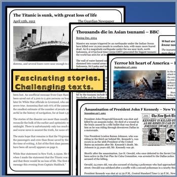 Reading Comprehension Package:  9/11, JFK, Asian Tsunami & The Titanic