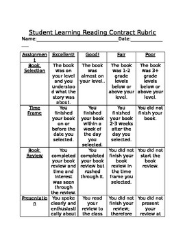 Reading contract with Rubric and Worksheets