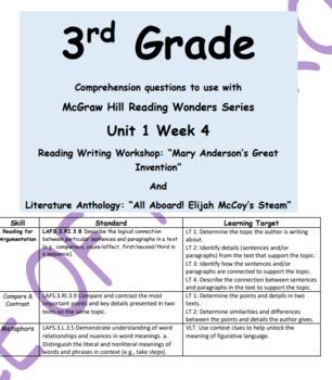 Reading for Argumentation U1W4 Comprehension Qs for Reading Wonders Grade 3