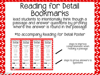 Reading for Detail Poster and Bookmarks