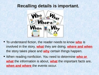 Reading for Details- Reading Strategy Powerpoint and Notes