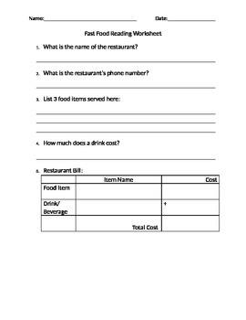 Reading for Information - Fast Food Menu Worksheet