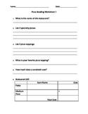 Reading for Information - Pizza Menu Worksheet 1