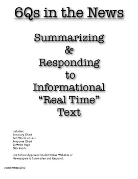 Reading for Information; Summarizing & Responding to News Articles Common Core