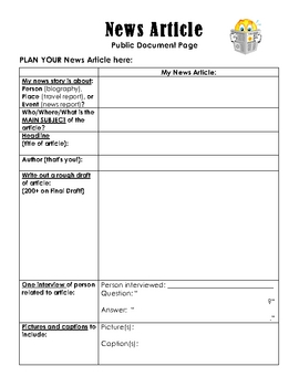 Reading for Life - Analyzing & Creating a News Article - Worksheets