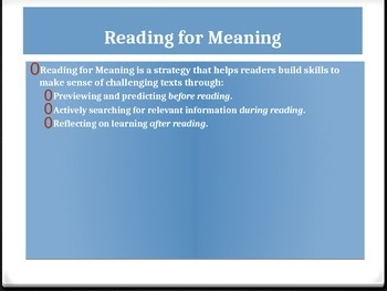 Reading for Meaning-From All But My Life PPT